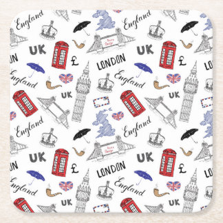 London City Doodles Pattern Square Paper Coaster