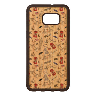 London City Doodles Pattern Wood Samsung Galaxy S6 Edge Case