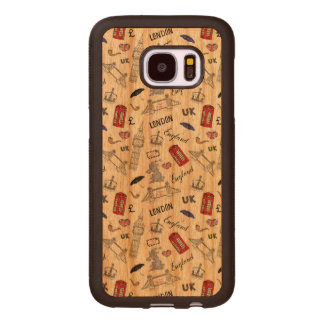 London City Doodles Pattern Wood Samsung Galaxy S7 Case
