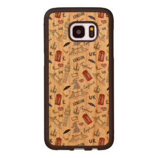 London City Doodles Pattern Wood Samsung Galaxy S7 Edge Case