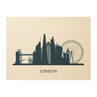 London City Skyline Wood Print