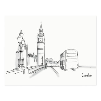 London Classic City Sketch Elegant Simple White Postcard