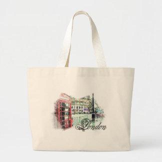 London Colored Sketch Jumbo Tote Bag