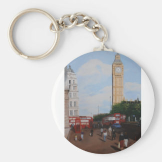 London Corner Basic Round Button Keychain