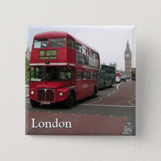 London Double-decker Bus 2 Inch Square Button