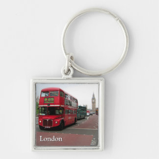 London Double-decker Bus Silver-Colored Square Keychain