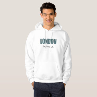 London (elegant blue & grey typography) hoodie