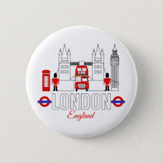London, England Badge 2 Inch Round Button
