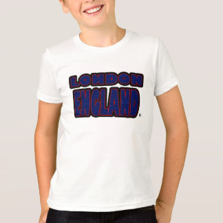 London England Blue-Red Worded Kids T-Shirt