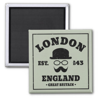 London England Bowler Hat and Mustache Square Magnet