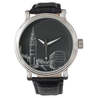 London England Classy Elegant City Sketch Black Watch