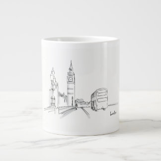 London England Clock Tower Double Decker Sketch Large Coffee Mug