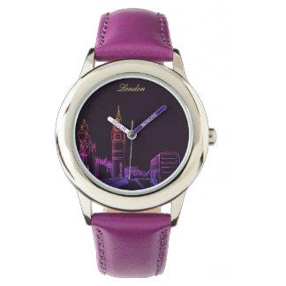 London England Neon  Purple Modern Sketch Elegant Watch