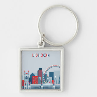 London, England | Red, White and Blue Skyline Keychain