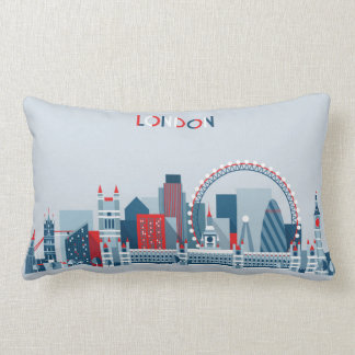 London, England | Red, White and Blue Skyline Lumbar Pillow