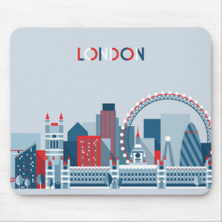 London, England | Red, White and Blue Skyline Mouse Pad