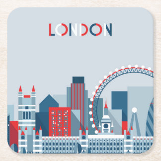 London, England | Red, White and Blue Skyline Square Paper Coaster