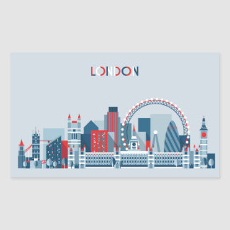 London, England | Red, White and Blue Skyline Sticker