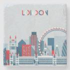 London, England | Red, White and Blue Skyline Stone Coaster
