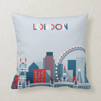 London, England | Red, White and Blue Skyline Throw Pillow