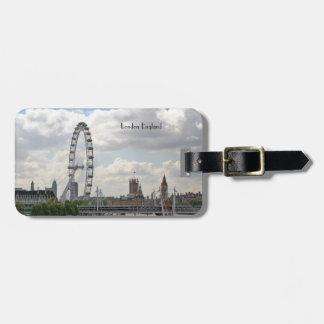 London England Skyline, Big Ben, London Eye,Thames Luggage Tag
