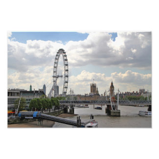 London England Skyline, Big Ben, London Eye,Thames Photo Print