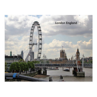 London England Skyline, Big Ben, London Eye,Thames Postcard