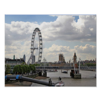 London England Skyline, Big Ben, London Eye,Thames Poster