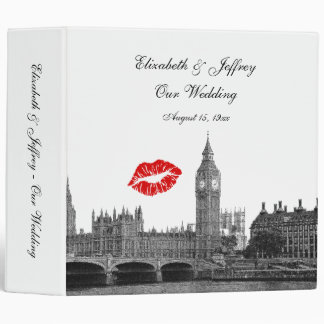 London England Skyline Kiss #1 BW Wedding Binder