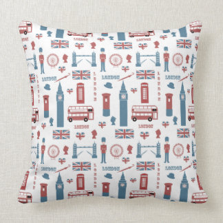 London England Symbols Pattern Throw Pillow
