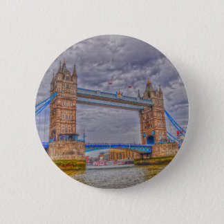 London, England Tower Bridge & Thames River 2 Inch Round Button