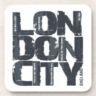 London, England Typography Coaster