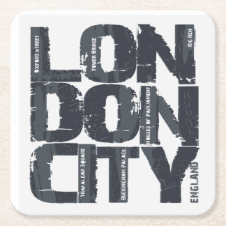 London, England Typography Square Paper Coaster