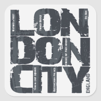 London, England Typography Square Sticker