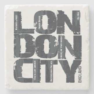 London, England Typography Stone Coaster