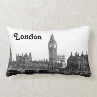 London England UK Skyline Etched Lumbar Pillow