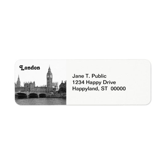 London England UK Skyline Etched Return Address Label
