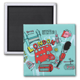 London ~ England United Kingdom Travel Art Square Magnet
