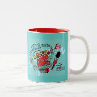 London ~ England United Kingdom Travel Art Two-Tone Coffee Mug