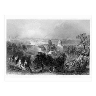 London from Greenwich Park 1840 Postcard