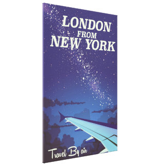 London From New York Vintage flight poster Canvas Print