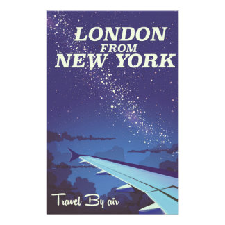 London From New York Vintage flight poster Stationery