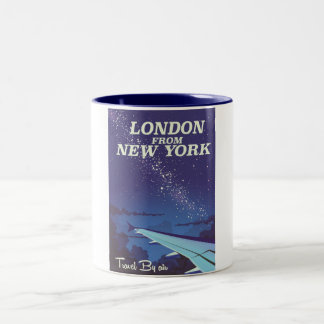 London From New York Vintage flight poster Two-Tone Coffee Mug
