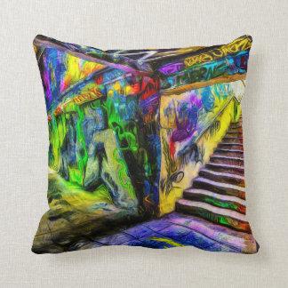 London Graffiti Van Gogh Throw Pillow