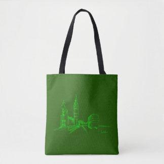 London Green Neon Clock Tower Double Decker Sketch Tote Bag