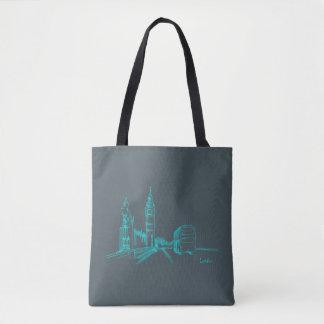 London Grey Blue Clock Tower Double Decker Sketch Tote Bag
