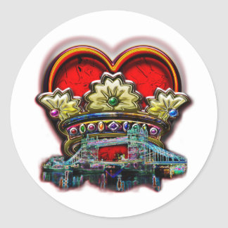 London Heart Crown Group Print Classic Round Sticker