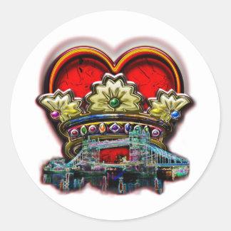 London Heart Crown Group Print Round Sticker