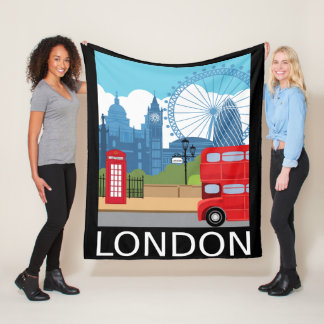 London illustration STYLISH fleece blanket