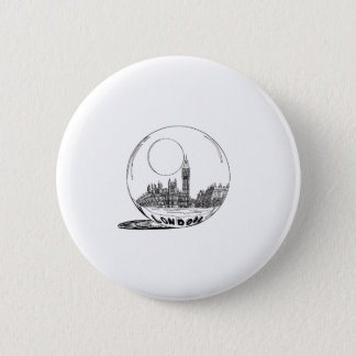 London in a glass ball . 2 inch round button